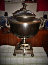 LARGE ANTIQUE BRASS & SILVER PLATE & PEWTER ? SAMOVAR WITH CARVED HANDLES TLC